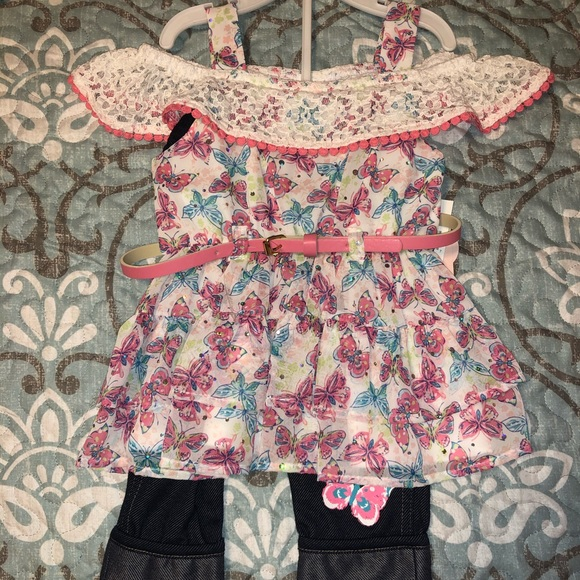 Little Lass Other - Butterfly 2-piece outfit size 2T NWT